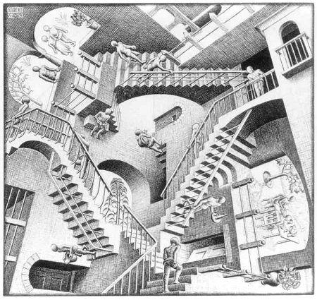 """М.К. Эшер """"Относительность"""" (M.C. Escher """"Relativity"""")"""