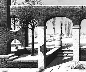 Double Guarded Gateway to the Wintery Arcadia (Acrylic on canvas, 1983)