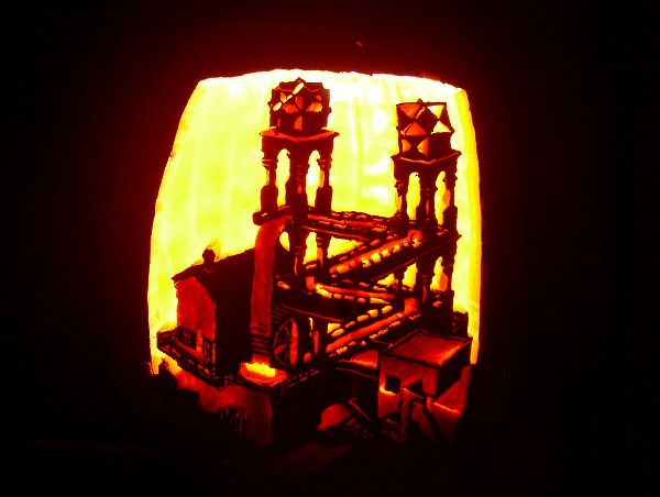 Escher's Waterfall on pumpkin