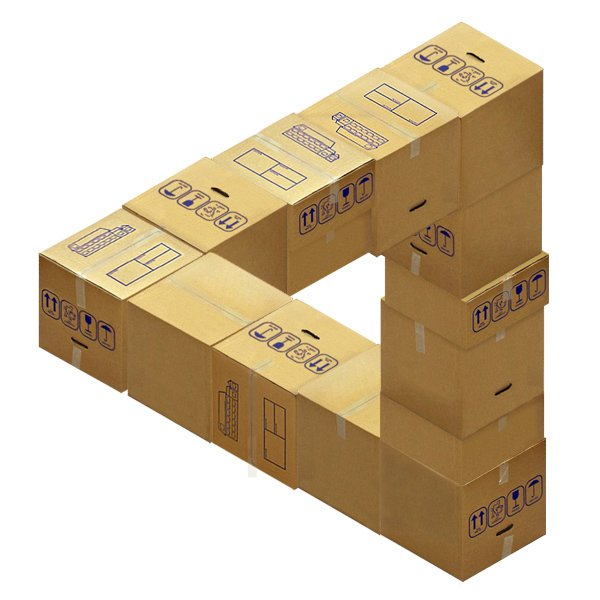 Impossible stack of boxes