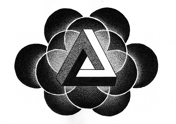 Penrose Triangle + Dotwork