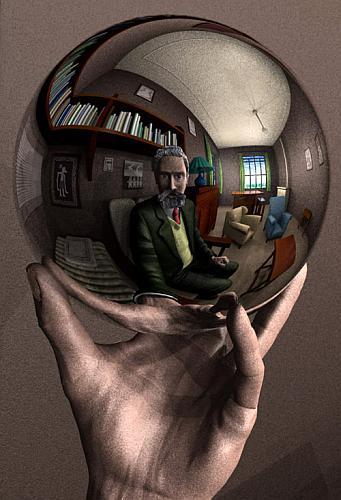 Hand with reflecting sphere (M.C. Escher)