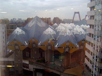 Cube Houses looks like snow-covered mountains