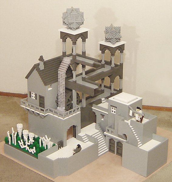 LEGO sculpture of Escher's Waterfall by Henry Lim.See also similar ...