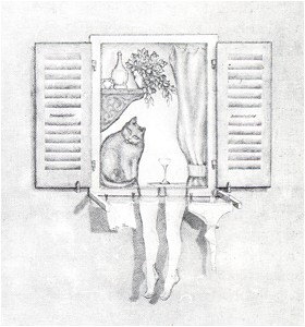 window pencil drawing. pictographic ambiguity window pencil drawing