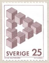 Postage stamp with Reutersvärd's triangle